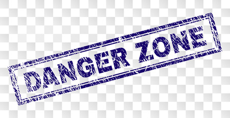 DANGER ZONE stamp seal watermark with rubber print style and double framed rectangle shape. Stamp is placed on a transparent background.