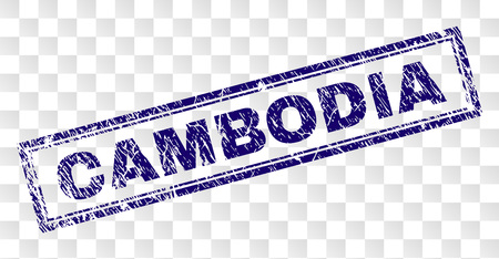 CAMBODIA stamp seal imprint with rubber print style and double framed rectangle shape. Stamp is placed on a transparent background. Blue vector rubber print of CAMBODIA text with scratched texture. Иллюстрация