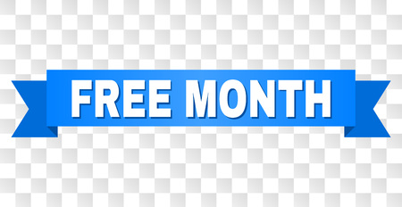 FREE MONTH text on a ribbon. Designed with white caption and blue stripe. Vector banner with FREE MONTH tag on a transparent background.  イラスト・ベクター素材