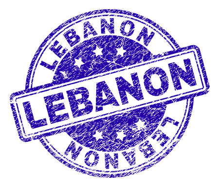 LEBANON stamp seal watermark with grunge texture. Designed with rounded rectangles and circles. Blue vector rubber print of LEBANON text with corroded texture.