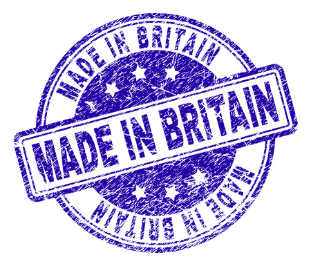 MADE IN BRITAIN stamp seal watermark with grunge texture. Designed with rounded rectangles and circles. Blue vector rubber print of MADE IN BRITAIN title with retro texture.