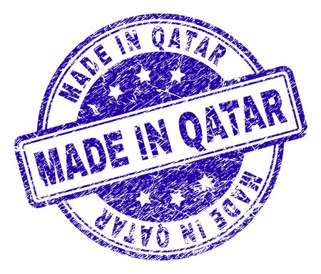 MADE IN QATAR stamp seal watermark with grunge texture. Designed with rounded rectangles and circles. Blue vector rubber print of MADE IN QATAR title with grunge texture.