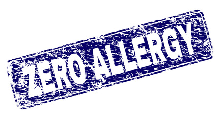 ZERO ALLERGY stamp seal print with grunge style. Seal shape is a rounded rectangle with frame. Blue vector rubber print of ZERO ALLERGY label with grunge style.