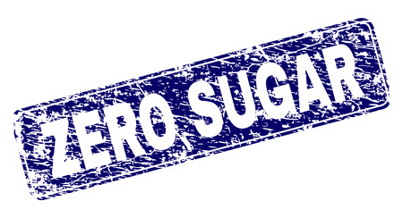 ZERO SUGAR stamp seal print with distress style. Seal shape is a rounded rectangle with frame. Blue vector rubber print of ZERO SUGAR title with unclean style.