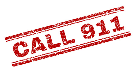 CALL 911 seal print with grunge texture. Red vector rubber print of CALL 911 tag with grunge texture. Text tag is placed between double parallel lines.