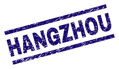 HANGZHOU seal print with scratced style. Blue vector rubber print of HANGZHOU label with grunge texture. Text label is placed between parallel lines. 일러스트