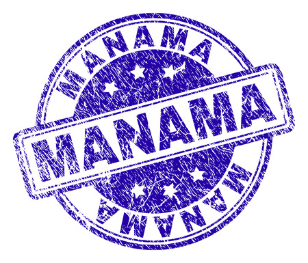 MANAMA stamp seal watermark with grunge texture. Designed with rounded rectangles and circles. Blue vector rubber print of MANAMA title with dirty texture.