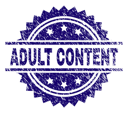 ADULT CONTENT stamp seal watermark with distress style. Blue vector rubber print of ADULT CONTENT text with dirty texture. Illustration