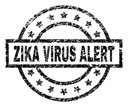 ZIKA VIRUS ALERT stamp seal watermark with distress style. Designed with rectangle, circles and stars. Black vector rubber print of ZIKA VIRUS ALERT label with unclean texture.