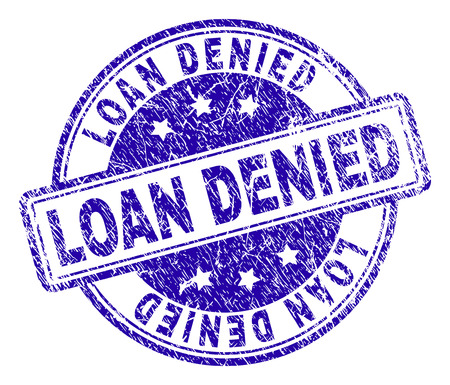 LOAN DENIED stamp seal imprint with distress texture. Designed with rounded rectangles and circles. Blue vector rubber print of LOAN DENIED caption with corroded texture. 일러스트