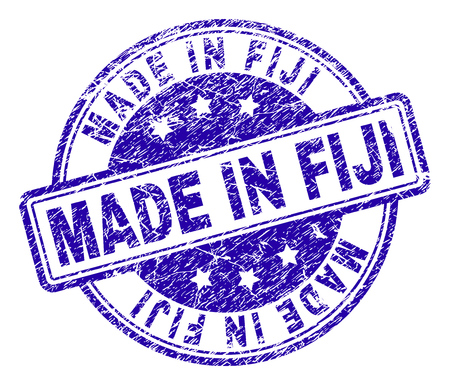 MADE IN FIJI stamp seal imprint with grunge texture. Designed with rounded rectangles and circles. Blue vector rubber print of MADE IN FIJI title with retro texture.