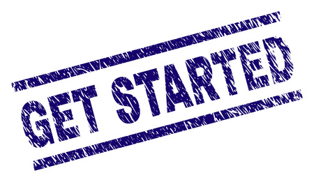 GET STARTED seal print with grunge style. Blue vector rubber print of GET STARTED text with scratched texture. Text title is placed between parallel lines.