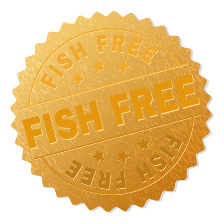 FISH FREE gold stamp seal. Vector gold medal with FISH FREE text. Text labels are placed between parallel lines and on circle. Golden surface has metallic effect.