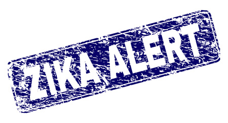 ZIKA ALERT stamp seal print with grunge style. Seal shape is a rounded rectangle with frame. Blue vector rubber print of ZIKA ALERT caption with grunge style.