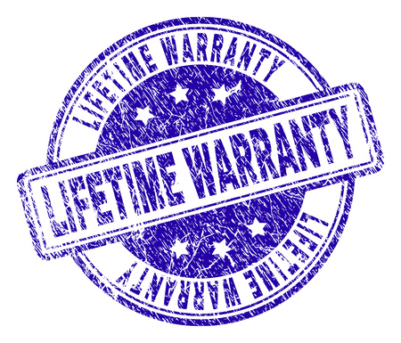 LIFETIME WARRANTY stamp seal watermark with distress texture. Designed with rounded rectangles and circles. Blue vector rubber print of LIFETIME WARRANTY tag with corroded texture. Illustration