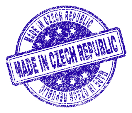 MADE IN CZECH REPUBLIC stamp seal watermark with grunge style. Designed with rounded rectangles and circles. Blue vector rubber print of MADE IN CZECH REPUBLIC tag with grunge texture.