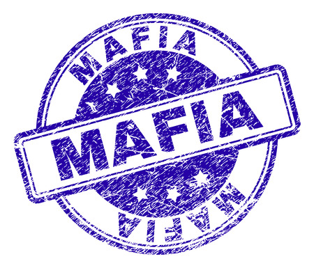 MAFIA stamp seal watermark with grunge texture. Designed with rounded rectangles and circles. Blue vector rubber print of MAFIA title with retro texture.