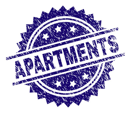 APARTMENTS stamp seal watermark with distress style. Blue vector rubber print of APARTMENTS label with dirty texture.
