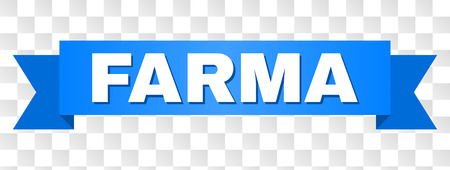 FARMA text on a ribbon. Designed with white title and blue tape. Vector banner with FARMA tag on a transparent background.