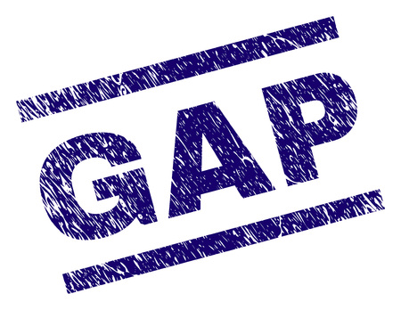 GAP seal print with scratced style. Blue vector rubber print of GAP title with dirty texture. Text title is placed between parallel lines. Ilustrace