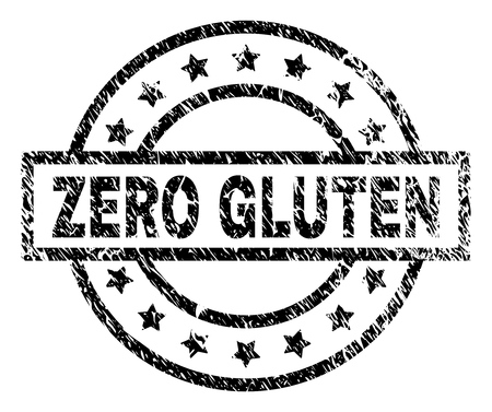 ZERO GLUTEN stamp seal watermark with distress style. Designed with rectangle, circles and stars. Black vector rubber print of ZERO GLUTEN title with scratched texture.