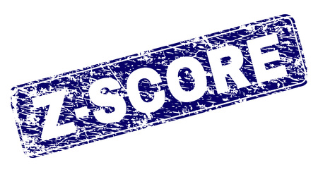 Z-SCORE stamp seal print with grunge style. Seal shape is a rounded rectangle with frame. Blue vector rubber print of Z-SCORE tag with corroded style.