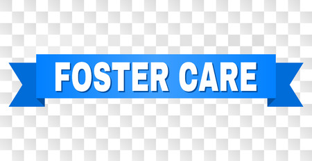 FOSTER CARE text on a ribbon. Designed with white caption and blue tape. Vector banner with FOSTER CARE tag on a transparent background.  イラスト・ベクター素材