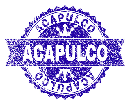 ACAPULCO rosette stamp seal watermark with grunge texture. Designed with round rosette, ribbon and small crowns. Blue vector rubber watermark of ACAPULCO label with corroded texture.