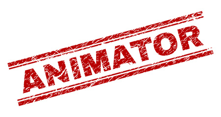 ANIMATOR seal watermark with distress texture. Red vector rubber print of ANIMATOR text with dust texture. Text caption is placed between double parallel lines.