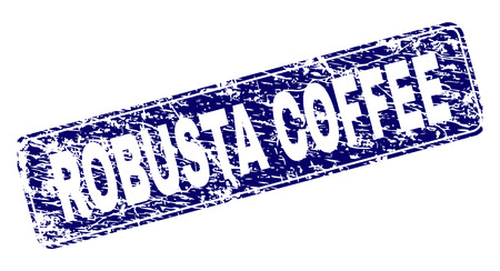 ROBUSTA COFFEE stamp seal print with grunge texture. Seal shape is a rounded rectangle with frame. Blue vector rubber print of ROBUSTA COFFEE text with dirty texture.