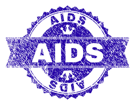 AIDS rosette stamp watermark with grunge effect. Designed with round rosette, ribbon and small crowns. Blue vector rubber watermark of AIDS tag with corroded texture. Ilustração