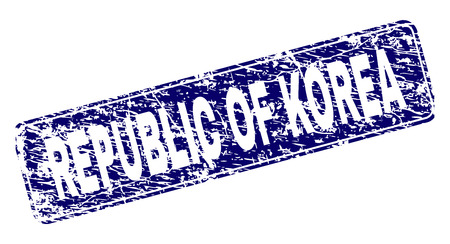 REPUBLIC OF KOREA stamp seal print with grunge texture. Seal shape is a rounded rectangle with frame. Blue vector rubber print of REPUBLIC OF KOREA tag with grunge texture.