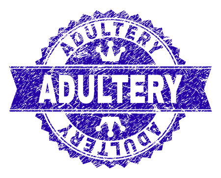 ADULTERY rosette seal watermark with distress style. Designed with round rosette, ribbon and small crowns. Blue vector rubber watermark of ADULTERY label with grunge style.