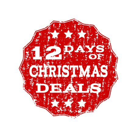 Grunge red 12 DAYS OF CHRISTMAS stamp seal. Vector 12 DAYS OF CHRISTMAS rubber seal with grunge style. Isolated red colored watermark on a white background.