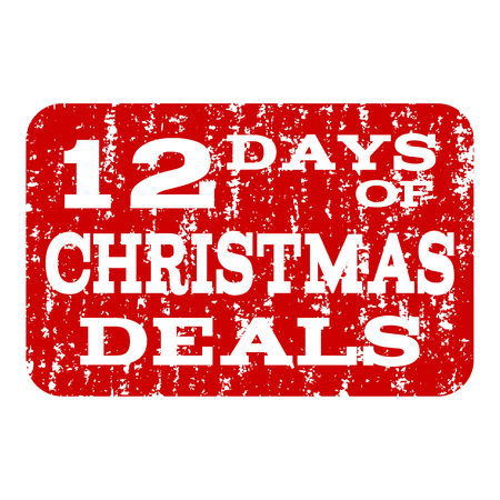 Grunge red 12 DAYS OF CHRISTMAS stamp seal. Vector 12 DAYS OF CHRISTMAS rubber watermark with distress surface. Isolated red colored watermark on a white background.