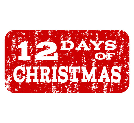 Grunge red 12 DAYS OF CHRISTMAS stamp seal. Vector 12 DAYS OF CHRISTMAS rubber seal with scratced style. Isolated red colored watermark on a white background.