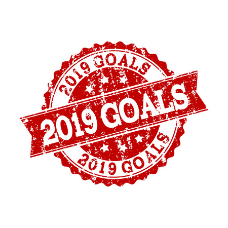 Grunge red 2019 GOALS stamp seal. Vector 2019 GOALS rubber seal with draft texture. Isolated red colored watermark on a white background.