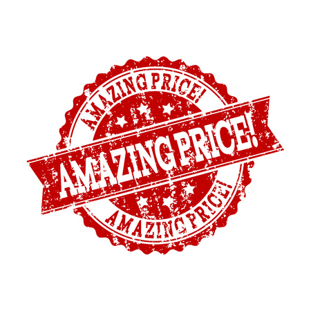 Grunge red AMAZING PRICE! stamp seal. Vector AMAZING PRICE! rubber print with grunge effect. Isolated red colored watermark on a white background.
