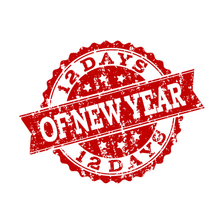 Grunge red 12 DAYS OF NEW YEAR stamp seal. Vector 12 DAYS OF NEW YEAR rubber watermark with grunge texture. Isolated red colored watermark on a white background.