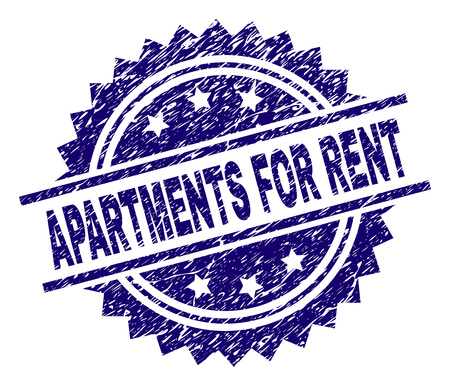 APARTMENTS FOR RENT stamp seal watermark with distress style. Blue vector rubber print of APARTMENTS FOR RENT label with scratched texture. Ilustração