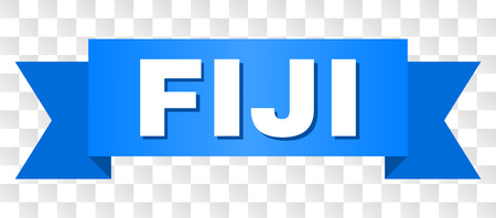 FIJI text on a ribbon. Designed with white title and blue stripe. Vector banner with FIJI tag on a transparent background.