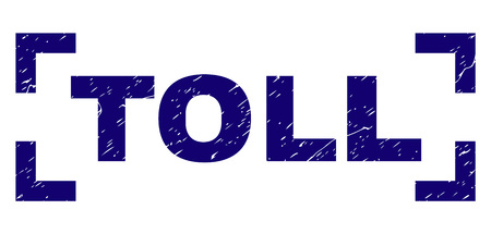 TOLL text seal print with distress texture. Text title is placed between corners. Blue vector rubber print of TOLL with grunge texture.