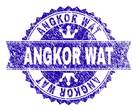 ANGKOR WAT rosette seal imprint with grunge style. Designed with round rosette, ribbon and small crowns. Blue vector rubber print of ANGKOR WAT title with grunge style.