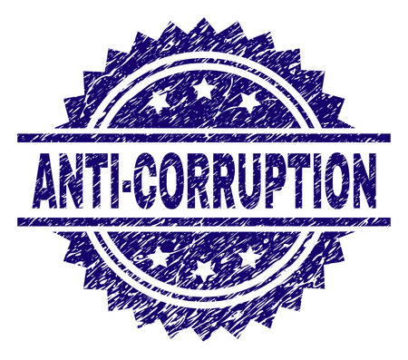 ANTI-CORRUPTION stamp seal watermark with distress style. Blue vector rubber print of ANTI-CORRUPTION text with corroded texture.