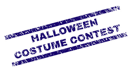 HALLOWEEN COSTUME CONTEST seal print with grunge style. Blue vector rubber print of HALLOWEEN COSTUME CONTEST title with grunge texture. Text title is placed between parallel lines. Vector Illustration
