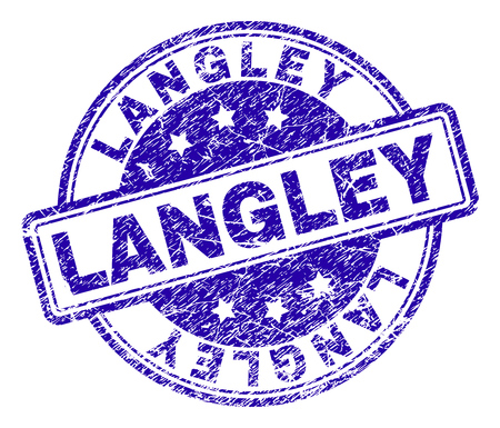 LANGLEY stamp seal imprint with distress style. Designed with rounded rectangles and circles. Blue vector rubber print of LANGLEY label with corroded texture. Ilustração