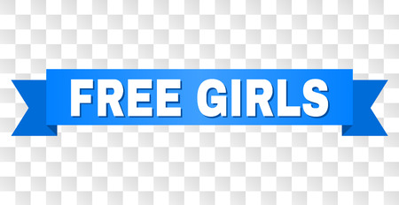 FREE GIRLS text on a ribbon. Designed with white title and blue stripe. Vector banner with FREE GIRLS tag on a transparent background. 일러스트