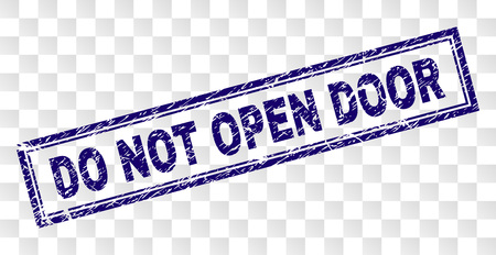 DO NOT OPEN DOOR stamp seal watermark with rubber print style and double framed rectangle shape. Stamp is placed on a transparent background.
