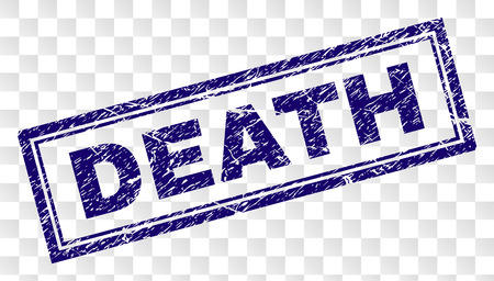 DEATH stamp seal print with dirty style and double framed rectangle shape. Stamp is placed on a transparent background. Blue vector rubber print of DEATH label with dirty texture.