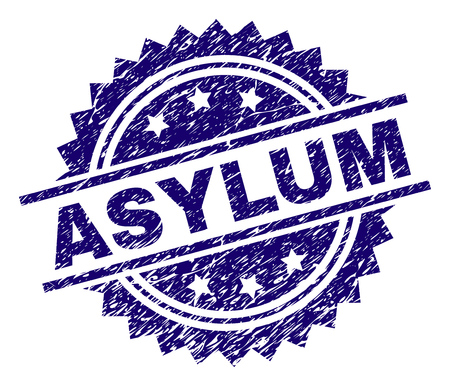 ASYLUM stamp seal watermark with distress style. Blue vector rubber print of ASYLUM label with dust texture.